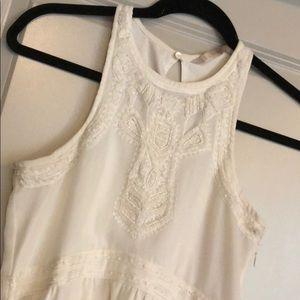 White Zara Beaded Maxi Dress Sz Xs